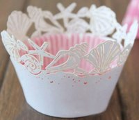 Wholesale Wholesale Laser Cut Cupcake Wrappers - Wholesale- free shipping 12pcs White Seashell laser cut cupcake wrapper beach wedding birthday party Cup cake wrap paper holder