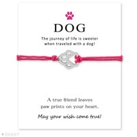 Wholesale Cards Dogs - Wish Bracelet With Gift Card Dog Paw Charm Bracelets & Bangles for Women Girls Adjustable Friendship Statement Jewelry Greeting Cards