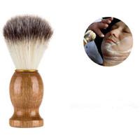 cepillo de cerdas de nylon al por mayor-Peluquero de afeitar el pelo de afeitar cepillos de madera natural mango de cerdas de nylon cepillo de barba para los hombres mejor regalo peluquería herramienta CCA6824 100 unids