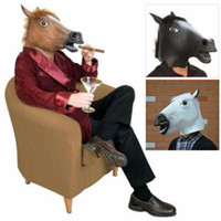 Wholesale Party Animal Head Costume - Full Head Mask Adult Latex Horse Head Mask Animal Costume Toys Novel Party Halloween Funny Tool Party Mask CCA7477 20pcs