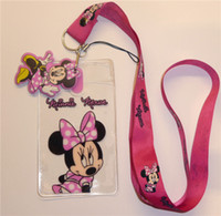 Wholesale Minnie Lanyard - New 50pcs Cartoon Minnie Rose red Popular Lanyard strap Cell Phone ID Key Holder + pouch + soft dangler Wholesale free shipping