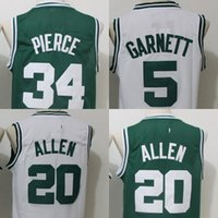9a20b7d66 Basketball Men Sleeveless Throwback Basketball Jerseys 5 Kevin Garnett 20  Ray Allen 34 Paul Pierce 33