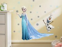 Wholesale Stickers For Room Decor - Elsa Olaf Wall Stickers Frozen Movie Wall Decals Romance Kids Sticker Children Room Removable PVC Cartoon Baby Wall Stickers Home Decor