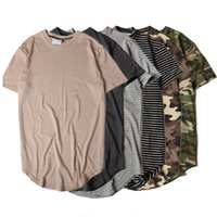 Wholesale Hip Hop Camo Clothing - Summer Striped Curved Hem Camouflage T-shirt Men Longline Extended Camo Hip Hop Tshirts Urban Kpop Tee Shirts Mens Clothes