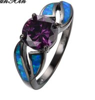 Wholesale Ocean Heart Jewelry Sets - Ocean Blue Fire Opal Round Purple Amethyst CZ Women Band Jewelry 10KT Black Gold Filled Engagement Rings