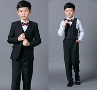 Wholesale Wedding Vests For Boys - Cheap Boys Suits For Weddings Black Boy Suit Five Piece Suit Formal Party Bow Tie Pants Vest Shirt Kids Wedding Suits Free Shipping In Stock