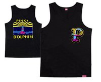Wholesale Tank Tops Styles For Men - Wholesale- 2016 new style casual hip hop high quality for pink dolphin men's muscle tank tops 100% cotton for men and women O-neck