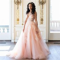 Wholesale See Through Top Wedding Dresses - Sexy Blush Pink Wedding Dresses Charming Deep V-Neck See Through Top Backless Sheer Bridal Gowns Modest