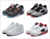 Wholesale Top Quality Sneakers China - Michael retro 5 low top neymar China Basketball Sports Shoes sneakers 5s fire red White Silver Alternate 90 High Quality Version