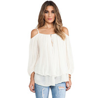 Wholesale Strapless Loose Tops - New 2017 Summer Women Chiffon Shirt White Color Ladies Strapless Slash Neck Sexy Chiffon Shirts Long Sleeve Loose Tops ST072