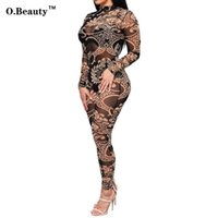 Wholesale Wholesale Clubwear For Women - Wholesale- 2016 Rompers Womens Jumpsuit Sexy Perspective Bodycon Tattoo Print Summer Overalls For Women Outfits Playsuit Clubwear Bodysuit