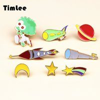 Timlee X082 Cute Meteor Alien Telescope Dirigeable Rocket Red Planet Star Moon Broche Pins, Bijoux De Mode Bijoux