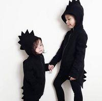 Wholesale Child Girl Tweed Coat - Ins New Autumn Winter Baby Kids Cartoon Dinosaur Tweed Coat Boys Girls Hooded Wool Coat Children Outwear Coats 13456