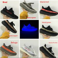 Wholesale Dhl Men Shoes - Free DHL 9 Color SPLY-350 V2 Cream White Zebra Breds Beluga Shoes Man Woman Running Shoes Best Quality Best Price