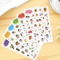 Vente en gros - 6 pièces / Set Vintage Happy Life Bear Diary Deco Kawaii Planner Sticker Note Sticker Message Sticker Sticker Décoration