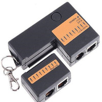 led lan toptan satış-Popüler RJ45 RJ11 Mini Cat5 Ağ LAN Tel Kablo Test Cihazı ile Anahtarlık 9 Led Ethernet Kablosu Tracker Dedektörü