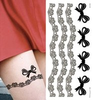Wholesale-1Pcs wasserdichte Kinghorse Lace Fan Rose Bow temporäre Tattoo Aufkleber temporäre Körper Kunst Schablone Designs