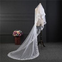 Wholesale Cathedral Veil Without Comb - 2017 Velo Novia Largo 3 Meters Long One Layer White Ivory Bridal Veils Appliqued Edge Cheap Veils Wedding Accessories CPA889 Without Comb