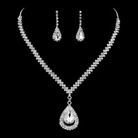 Wholesale Cheap Cubic Zirconia Earrings - Luxury Rhinestone Bridal Jewelry Sets 2 Pieces Silver Plated Water Drop Crystal Diamonds Necklace And Earrings Cheap Wedding Accessories