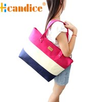 Wholesale Striped Tote Bags - Wholesale-New brand 2016 Fashion Women Canvas striped Handbags Tote Shoulder Bags Gift 1pcs