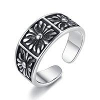 Wholesale Enamel European Ring - BELAWANG European Classic Silver Rings Alloy Black Enamel Flower Open Finger Ring for Women Jewelry Gift Wholesale 10 pieces Free Shipping