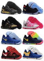 Wholesale Cheap Kds Basketball Shoes - Wholesale 2017 new arrival KD 10 Basketball Shoes Men Cheap White Tennis Kevin Durant 10 X 9 Kds Elite Floral Aunt Pearls Easter