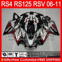 обтекатели для aprilia rs125 оптовых-Корпус для Aprilia RS4 RSV125 RS125 06 07 08 09 10 11 RS125R RS-125 70HM4 красный серебристый RSV 125 RS 125 2006 2007 2008 2009 2010 2011 обтекатель