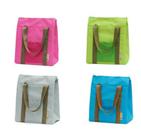 bolsas de comida al por mayor-100pcs 4colors Nylon Cooler Insulated Waterproof Lunch Carry Storage Picnic Food Impermeable Travel Tote Bag