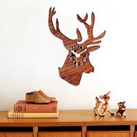 Wholesale Vintage Deer Head - Deer Head shape wall clock wood Pastoral Creative Natural style quartz timekeeping clocks Vintage Antique crafts wall-clock