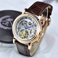 Wholesale Genuine Cow Leather Watch - 2017 Baselworl New Listing Luxury Mens Watches Top Tourbillon Automatic Movement Cow Genuine Leather Original Buckle Luxury Brand Wristwatch