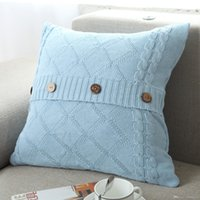 Wholesale nordic knitted - Pillow Case Diamond Button Decor Soft Cotton Knitted Sofa Back Cushion Car Pillowcase Multi Color Nordic Style 22nw F R