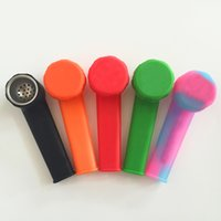 Wholesale Dry Dishes - Portable Silicone Smoking Pipe For Dry Herb   Hookah Silicone Water Pipes With Removeable Metal Dish Bowl Better than Twisty Glass Blunt