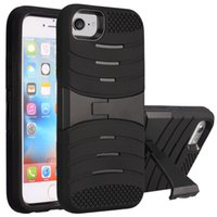 Wholesale iphone pc hard case online - For Iphone Plus Armor Case Hybrid in Kickstand Case Rugger Silicone PC Hard Cover Case For Iphone S Plus LG LS775 K10 OPP Bag