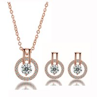 Wholesale Rose Zircon Necklace - White or Rose Gold Color Round Circle Full Paved Clear Crystals Cut Zircon Stud Earrings Pedant Necklace Jewelry Sets for Women