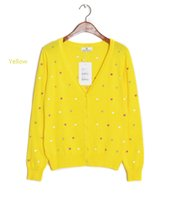 Wholesale Heart Sweater Cardigan - Wholesale- 2015 Autumn Hot Sale Women Sweater Embroidery Heart Women Cardigan Full Sleeve Single Casual Sweater Air conditioning Vestidos