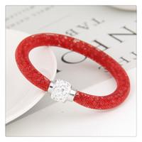 neue mesh-schmuck großhandel-Neue Mode Pandora Armband Charme Magnetische Armbänder Kristall Perlen Armband Mesh Verschluss Infinity Link Armbänder Armreifen Schmuck Geschenk