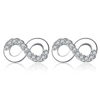 Wholesale Earring Infinity - BELAWANG Authentic 925 Sterling Silver Infinity Stud Earrings Forever Love 8 Shape Earrings For Women Jewelry Wedding Valentine's Day Gift