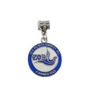 Wholesale Greek Charms - Wholesale- SORORITY GREEK ZETA PHI BETA Sorority enamel round charm founded 1920 round charm 10pcs 1 lot