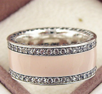Wholesale Enamel European Ring - 2017 New 100% 925 Sterling Silver European Pandora Jewelry Hearts Ring with Pink Enamel and Cz Fashion Charm Ring