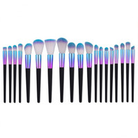 eye-liner brillant achat en gros de-7/12/19 PCS Makeup Brushes Set Professional Purple Bleu Brillant Synthetic Foundation Poudre Blush Fard À Paupières Eyeliner Kit De Brosse De Maquillage