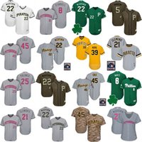 Wholesale B Service - Custom Pittsburgh Pirates Jersey Memorial Day Green Salute to Service Father Mather Starling Marte Roberto Clemente Andrew McCutchen Barry B