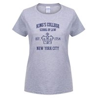 2017 Vendite calde Manica corta HAMILTON BROADWAY MUSICAL King's College School of Law Est. 1754 La più grande città del mondo T-Shirt donna