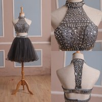 Wholesale Silver Mini Sequin Prom Dress - 2017 Cheap Two Piece Silver Homecoming Dresses High Neck Rhinestone Beaded Sequins Draped Piping Ball Gown Short Mini Prom Dress Custom Made