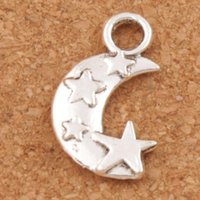 Moon and Star Spacer Charm Beads 300pcs / lot Pendentifs en argent tibétain Alliage Bijoux faits à la main DIY 19.1x11mm L198