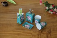 Wholesale Lotion Set Gifts - 5PICS  set High Quality Lotion Pump Holder Set Pottery Soap Dishes hand-painted Flowers ceramic Hotel bathroom decoration Chrismas Gifts