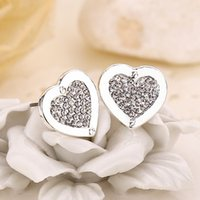 Wholesale Animal Hearing - 1Pair Fashion Heart Shape Crystal Earring Crystal Hear Ear Studs Luxury Crystal Heart Earrings for Men and Women