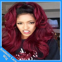 Wholesale Red Heat Resistant Wigs - Free shipping black to 99j burgundy Wine red ombre Wig body wave natural Synthetic Lace Front Wigs Heat Resistant Hair Swiss Lace Wig