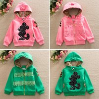 Wholesale Baby Leopard Coat Outwear - Baby girl Minnie coat Girl Autumn Winter leopard cotton thick Outwear Both sides to wear interesting design Hoodies Coat 4pcs lot