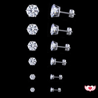 Wholesale Earring Cz Round - Tiny Delighted Cubic Zircon Earrings Stud Set Stainless Steel AAA CZ Round Shape Silver Plated Crystal Earring Jewelry 3-8mm 6 Pairs  Set