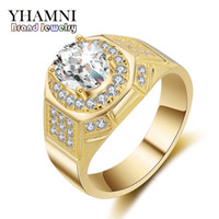 Wholesale Sona Color Diamond Rings - YHAMNI Fashion Yellow Gold White Gold Color Ring Luxury Gold Filled 2 Carat SONA CZ Diamond Men Engagement Wedding Rings MJZ030